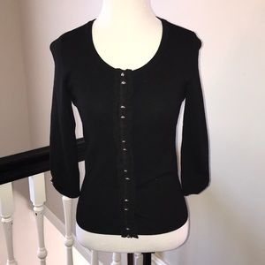 Fitted Cardigan with Ruffle Accent